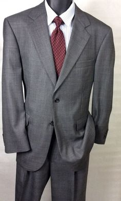 Men's Stafford 100% Wool 2pc Plaid Gray Suit Size 40R | 37X30 Pants #Stafford #TwoButton