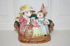 VINTAGE AVON 'Which shade do you prefer?' porcelain figurine MINT $12.50