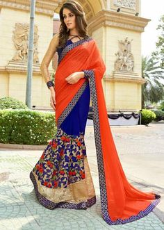 IVimal Blue Colored Embroidered Georgette Net Festival Saree - 97064