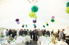 Pom Poms in Wedding Marquee