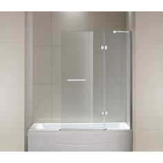 Schon Mia 40 in. x 55 in. Frameless Hinge Tub/Shower Door in Chrome and Clear Glass-SC70014 at The Home Depot