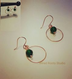 Check out this item in my Etsy shop https://www.etsy.com/listing/489225640/copper-and-emerald-hoop-earrings-emerald