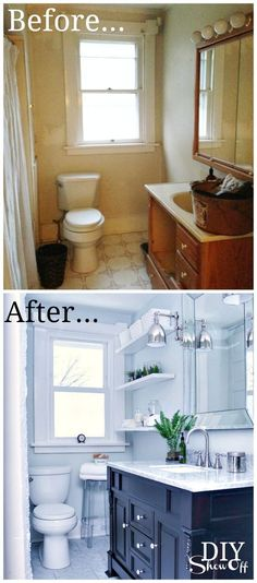 DIY Show Off Tiny Bath Makeovers Lots of Tips, Tutorials and Before and Afters! Including, from 'diy showoff', this gorgeous bathroom makeover. Home Staging, Bathroom Renos, Bathroom Renovations, Bathroom Makeovers, Bathroom Ideas, Remodel Bathroom, Budget Bathroom, Bathroom Designs, Kitchen Makeovers