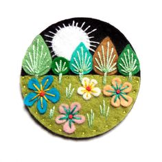 HALF PRICE SALE Treescape felt brooch pin with by designedbyjane