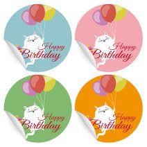 24 süße Geburtstags Aufkleber mit fliegender Katze in verschiedenen Farben (matt, ø 45mm; 6 x 4 Farben)
