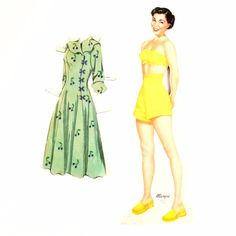 "Vintage Wood Paper Doll ""Margie"" with Clothing, made by Whitman (c.1940s)"