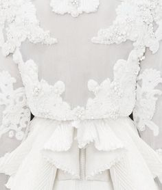 Couture Embroidery - pleated peplum dress with beaded applique embellishment; white fashion detail // Givenchy Fall 2011
