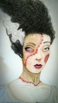 Lady Frankenstein Monster colored pencil portrait