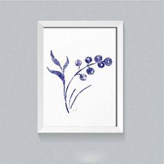 Abstract flower watercolor, wall art, Blue and white art, Flower art print, Botanical print, Indigo blue bedroom decor, Minimalist wall art