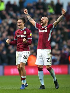 Jack Grealish and Alan Hutton of Aston Villa celebrate after the Sky Bet Championship match between Aston Villa and Birmingham City at Villa Park on November 2018 in Birmingham, England. Get premium, high resolution news photos at Getty Images Championship Football, Football Players, Aston Villa Players, Jack Grealish, Aston Villa Fc, Super Club, Villa Park, Best Club, Football Program