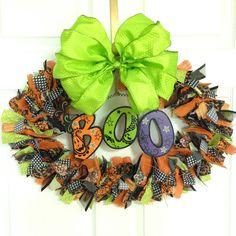 Halloween Boo Fabric Wreath