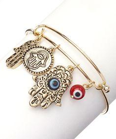 Look at this Goldtone Hamsa & Evil Eye Charm Bracelet on #zulily today!