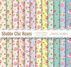 Shabby Chic Digital Paper DOTS ROSES Floral