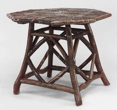 Rustic Adirondack table game table twig
