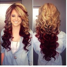 I love this hair color!! A honey blonde on top with a vibrant red on the bottom!!!!! Next hair color