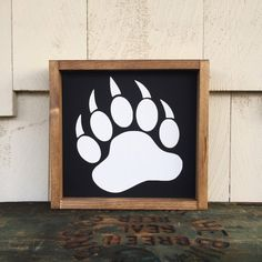 Bear Paw Print Framed Wood Sign, Custom Boys Hunting Room Decor, Nursery Gallery Wall Hanging, Woodland Theme Wall Art, Rustic Home Decor