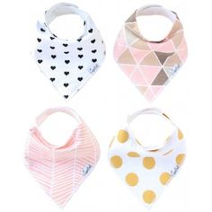 Copper Pearl Baby Bandana Bibs - Blush - Flat - These adorable baby bibs are cute, stylish, and super soft! Made from absorbent cotton, and with a fleece backing, your little one will stay nice and dry. Multiple snaps on the back allow for growth while the fun patterns keep him or her trendy. BabyCubby.com