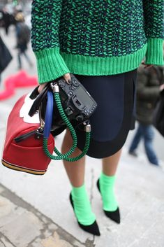 Paris Fashion Week [Photo by Kuba Dabrowski]. I love socks and high heels!Details in street style.