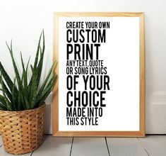 Custom Print Personalised Print Any Text Lyrics or Quote | Etsy