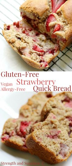 Gluten-Free Strawberry Quick Bread (Vegan, Allergy-Free) | Strength and Sunshine @RebeccaGF666 Put those ripe strawberries to good use in this healthy, sweet, and delicious quick bread recipe! This Gluten-Free Strawberry Quick Bread is vegan, allergy-free, and perfect for breakfast, brunch, dessert, or as a seasonal snack! It's spring and summer baking at its finest! #strawberry #quickbread #glutenfree #vegan #baking #breakfast #dessert #strengthandsunshine
