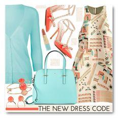 """Romwe Dress & Kate Spade Accessories"" by brendariley-1 ❤ liked on Polyvore featuring Kate Spade, Full Tilt, Estée Lauder, dress, romwe, print, organza and buildingblock"