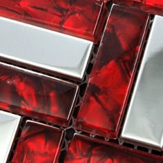 [Mius Art Mosaic] Glossy silver stainless steel & red color crystal glass mosaic tile for kitchen backsplash decoration MV054-in Mosaics from Home Improvement on Aliexpress.com