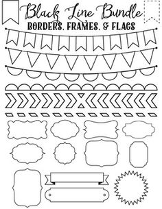 FREE Clip art Bundles - Black Line Borders Frames and Flags Set of 20 black line borders, frames and flags from Sonya DeHart.png files at 300 DPI. Doodle Borders, Page Borders, Doodle Patterns, Calligraphy Borders, Boarders And Frames, Free Frames And Borders, Borders Free, Line Border, Doodle Frames