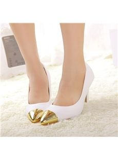 Stylish Golden Point Toe Low Heels