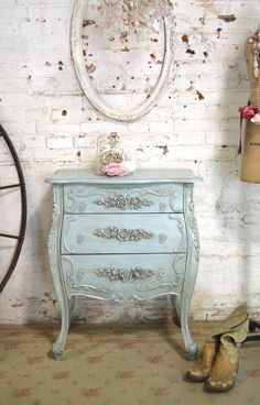 Etsy French Night Table Painted Cottage Chic Shabby Romantic French Bombay Night Table #affiliatepin
