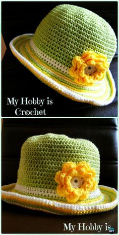 Crochet Stripped Brim Flower Sun Hat Free Pattern - Crochet Girls Sun Hat Free Patterns