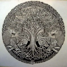 modern interpretation | artist unknown | Tree of Life - this is the tree that Odin sacrificed himself on to gain the treasure of the Runes... he suffered for 9 days and nights, lost one eye but returned victorious...