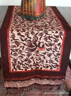 Table Runner In Deep Brown And Cinnamon Indonesian Batik With Fringe Ends
