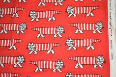 Retro fabric Swedish design red Mikey Lisa by Scandinaviavandesign