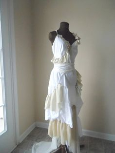 Bohemian Country Wedding Dress Beach Pixie Shabby Chic by colorada, $610.00