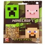 Name: Minecraft Pin 4-Pack Manufacturer: Jinx Series: Minecraft Release Date: June 2012 For ages: 4 and up Details (Description): Buttons are a staple in showing your favorite hobbies on backpacks, coat lapels and guitar straps. Buttons are great in all shapes and sizes, which is just what makes this 4-Pack so unique, ZOMG square buttons! Featuring the infamous Creeper, our dear friend, Steve, the iconic grass block, and pink piggly wiggly. There are so many great buttons in this 4-pack, and…