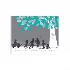 Gift for Grandparents, Personalized Silhouette Print with Nana and Gra | PaperRamma
