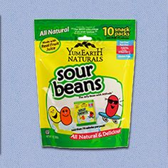 "YumEarth Naturals Sour Beans are fun and fantastically sour flavored jelly beans made with natural ingredients and containing no artificial colors or flavors and no major allergens, such as gluten, nuts and dairy. Each serving provides 100% of daily vitamin C,  has less than 70 calories per serving and is proud to include purple carrot juice in its ingredients. YumEarth Naturals Sour Beans are called ""the best jelly bean I've ever tasted,"" by international food critic, Phil Lempert of…"
