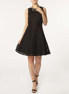 Black Stripe Mesh Fit & Flare Dress - View All Dresses - Dresses - Dorothy Perkins United States