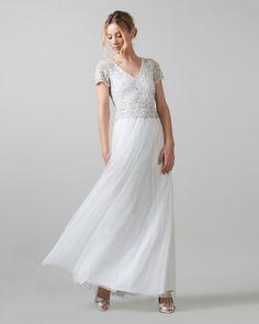 Phase Eight Evangeline Tulle Embellished Wedding Dress Cream