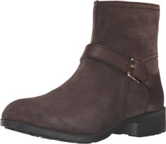 Cole Haan Women's Marla Bootie Waterproof Dark Taupe Suede/Dark Taupe Leather Boot. Keep your style intact on wet days with this Cole Haan® waterproof bootie. Waterproof suede leather upper. Smooth leather accents on buckle strap and counter. Zipper closure at inseam. Round toe. Textile lining. Lightly-padded footbed. Wrapped heel. Man-made outsole. Imported. Measurements: Heel Height: 1 1⁄4 in Weight: 15 oz Circumference: 10 3⁄4 in Shaft: 6 in Product measurements were taken using size 8...