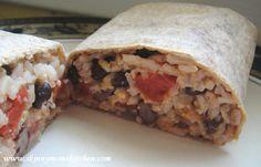 Black bean and rice burrito recipe. Easy to make and prepare ahead of time.