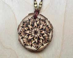 Boho mandala wooden pyrography necklace Gold burst mandala pyrography pendant necklace, mandala, wooden necklace #pyrography #woodburning #mandala