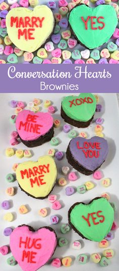 Our Conversation Hearts Brownies are adorable and easy to make - with . - Our Conversation Hearts Brownies are adorable and easy to make – in other words, – Valentine& - Valentine Desserts, Valentine Day Cupcakes, Valentines Day Dinner, Valentines Day Treats, Holiday Treats, Valentine Food Ideas, Homemade Valentines, Valentines Day Party, Valentine Heart