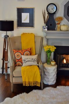 Creating this cozy nook was simple when we did our shopping at HomeGoods! The chair is theirs and so are a lot of the fabulous accents that we found. Fall themed accessories were plentiful. We started with this great fall pillow then based the rest of the color scheme around it. This warm cozy nook is so welcoming now with the cooler days of fall fast approaching. Sponsored by HomeGoods
