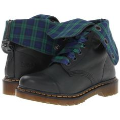 Dr. Martens Aimilie 9-Eye Toe Cap Boot Women's Lace-up Boots, Black ($90) ❤ liked on Polyvore featuring shoes, boots, black, platform shoes, slip resistant boots, black boots, lace up boots and shearling-lined boots