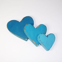 3 Rustic Wooden Hearts- You Choose Color- Home Decor- Cottage Chic-Shabby-Distressed Wood- Weddings- Milk White on Etsy, $24.00