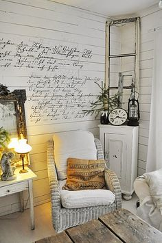 Shabby style with German script on the wall (script is from the bible: psalm 18:3 - psalm 124:7 - matthew 4:6)
