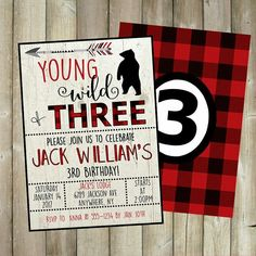 Flannel is all the rage! And so is your little man - young, wild, and THREE! Start his party off right with this adorable lumberjack themed birthday party invitation; complete with a wood backdrop, arrow, bear silhouette and a matching backside.
