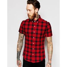 ASOS Skinny Shirt With Red Mid Scale Check In Short Sleeves ($36) ❤ liked on Polyvore featuring men's fashion, men's clothing, men's shirts, men's casual shirts, red, mens red checkered shirt, mens short sleeve shirts, mens checked shirts, mens stretch shirt and mens button down collar shirts