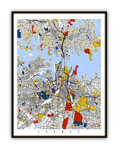 Sydney Map Art Print, Sydney Poster Map of Sydney Decor ...